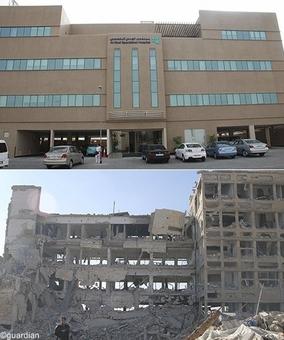 تصویر بالا بیمارستان الکیندی حلب در سال۲۰۱۲ و پایین ویرانههای بیمارستان پس از آغاز جنگ در سال۲۰۱۳