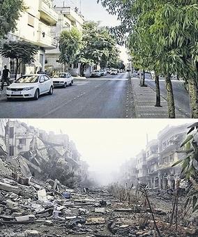 مقایسه یک خیابان در حمص به فاصله سه سال «۲۰۱۱ تا ۲۰۱۴» - آباد شدن ویرانیهای عظیم جنگ شاید سالها به طول بیانجامد!