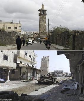 مسجد عمری در درعا سوریه - این تصاویر به فاصله زمانی «۲۰۱۱ تا ۲۰۱۳» ثبت شده است. تانک و ادوات جنگی در کنار ویرانیها جای خود را به وسایل نقلیه عمومی و رهگذران عادی داده است.