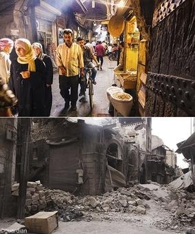 بازار باب انطاکیه در حلب - تصویر بالا مربوط به سال۲۰۰۹ میلادی و عکس پایین مربوط به سال۲۰۱۲ میباشد. از این بازار دیگر اثری باقی نمانده است!