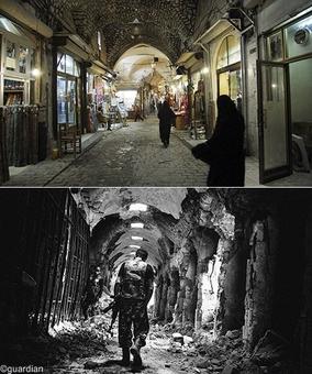بازار قدیم حلب - در بالا تصویری از سال۲۰۰۷ از مکان سیاحتی به نمایش گذاشته شده و در زیر تصویر این بازار در سال۲۰۱۳
