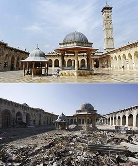 تصویر سال ۲۰۱۲مسجد اموی حلب و در پایین همین مسجد در سال ۲۰۱۳