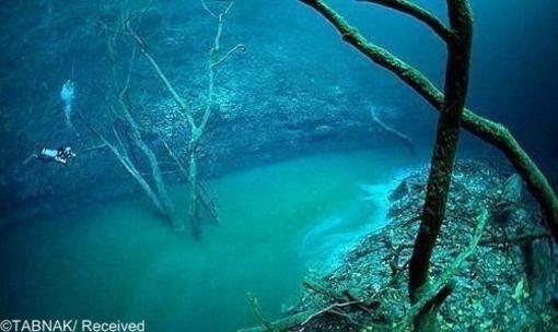 رودخانه ای زیر آب-این پدیده شگفت انگیز در جزیره یوکاتان در مکزیک واقع شده و یکی از مناظر طبیعی فوق العده در جاهن به شمار می آید .  این پدیده زیبای طبیعی هنگامی رخ می دهد که سولفات هیدروژن مخلوط با آب شور، آب را از حد طبیعی سنگین تر کرده و آن را از سایر مولکولهای آب جدا می کند .