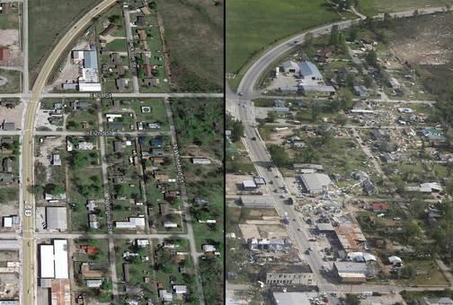 مقایسه شدت تخریب توفان سهمگین مرگبار در ایالات متحده در دو عکس از یک نقطه/NBC