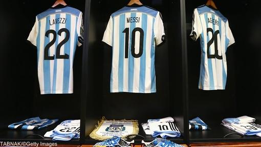 رختکن تیم ملی فوتبال آرژانتین قبل از دیدار با ایران