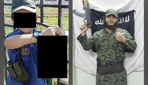 این تصویر مربوط به پسر هفت ساله تروریستی به نام «خالد شروف» است. روف اصالتا لبنانی است و در استرالیا به دنیا آمده است و پیشتر نیز در صفحه توئیتر خود، تصاویری را از خودش در کنار سرهای بریده منتشر کرده است. روزنامه «دی استرالیان» با انتشار عکسی از فرزند شروف تأکید کرد که گویا این پسر بچه هفت ساله با سر یکی از کسانی که به دست پدرش به قتل رسیده، عکس گرفته است. شروف با انتشار این عکس در توئیتر خود زیر آن نوشته است: این پسر من است. این تروریست قبلا در سیدنی زندگی میکرد، ولی سال گذشته به همراه همسر و فرزندانش به سوریه رفت و به گروه تروریستی داعش پیوست. این عکس در شهر رقه در شمال سوریه گرفته شده است./Alalam