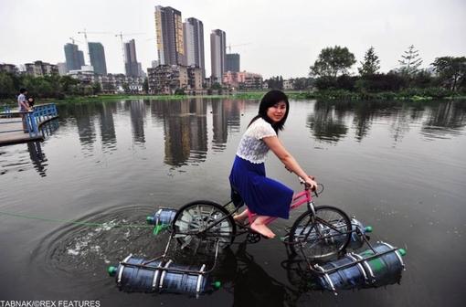 دوچرخه آبی خاکی در ووهان.