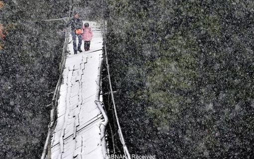 عبور از این پل شکسته در سرما و یخبندان کار هر روز دانش آموزان یکی از شهرهای استان «سیچوان» چین است.