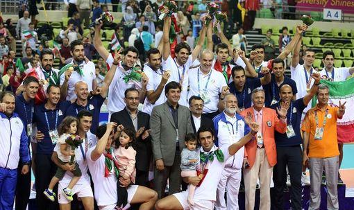 تیم ملی والیبال ایران در دیدار نهایی رقابت های والیبال هفدهمین دوره بازی های آسیایی اینچئون موفق به شکست ژاپن شد و برای نخستین بار عنوان قهرمانی این بازی ها را به دست آورد./irna