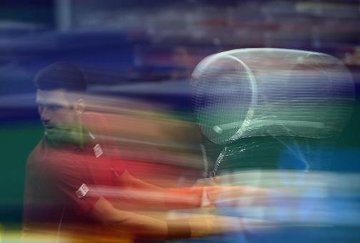 تصویر نواک جوکوویچ صرب در جریان مسابقات تنیس مسترز شانگهای در مقابل دیوید فرر./afps