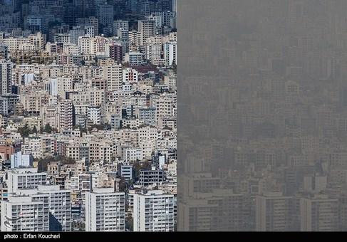 مقایسه تصویری هوای تهران قبل و بعد از آلودگی