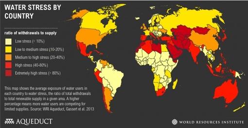 گستره جغرافیایی بحران آب در جهان