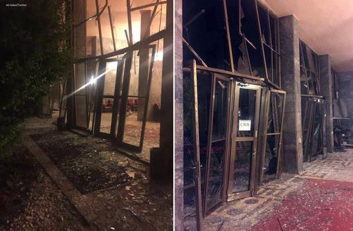ورودی پارلمان ترکیه از خارج و داخل پس از بمباران