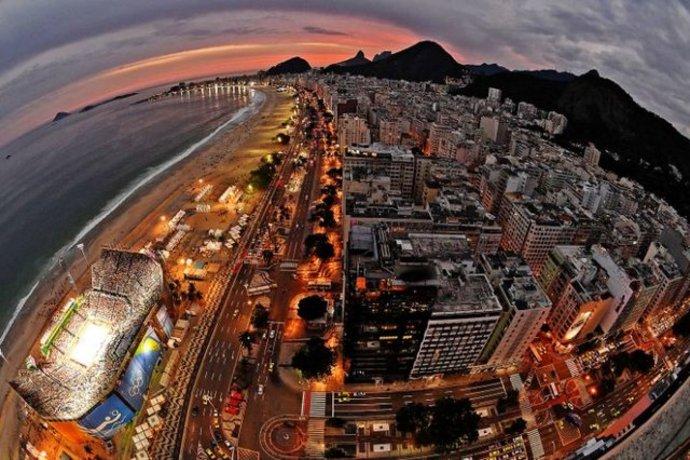 تصویر هوایی از ورزشگاه کوپاکابانا در ریو