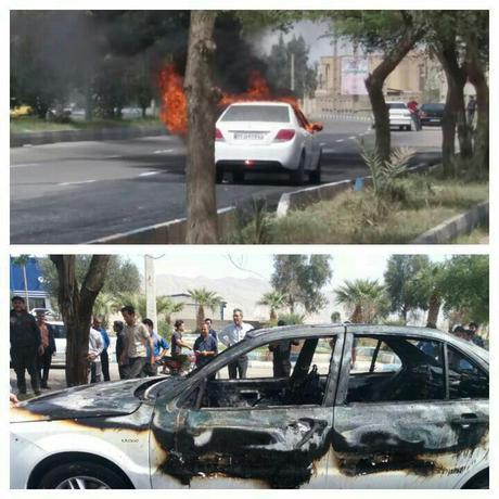 صاحب خودروی دنا به دلیل عصبانیت از عدم سرویس دهی مناسب در جلوی ایران خودرو دهلران خودروی خود را آتش زد و رفت.
