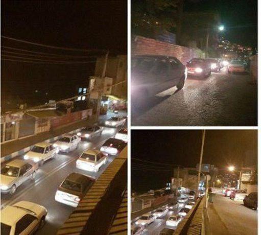ترافیک در پاوه بر اثر وقوع زلزله و خروج مردم از منازل