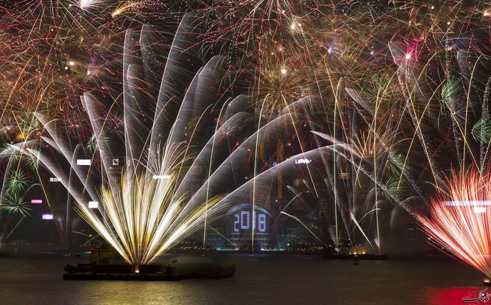 آتش بازی جشن سال نو در هنگ کنگ