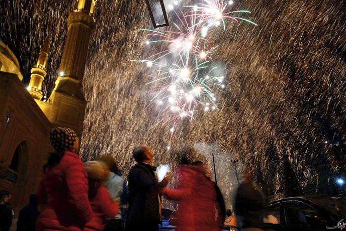 آتش بازی جشن سال نو در بیروت- لبنان