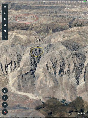 دایره زرد محل حادثه و دایره قرمز فرودگاه یاسوج را نشان میدهد.