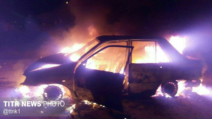 انفجار یک نارنجک دست ساز موجب آتش سوزی خودرو پراید در سردشت شد