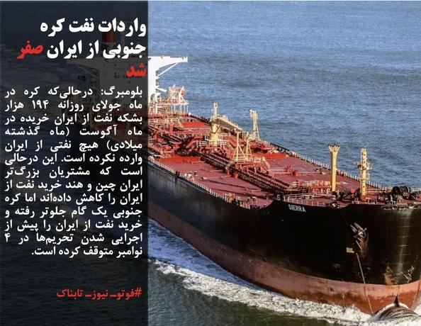 بلومبرگ: درحالیکه کره در ماه جولای روزانه 194 هزار بشکه نفت از ایران خریده در ماه آگوست (ماه گذشته میلادی) هیچ نفتی از ایران وارده نکرده است. این درحالی است که مشتریان بزرگتر ایران چین و هند خرید نفت از ایران را کاهش دادهاند اما کره جنوبی یک گام جلوتر رفته و خرید نفت از ایران را پیش از اجرایی شدن تحریمها در 4 نوامبر متوقف کرده است.