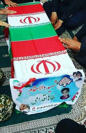 تصویری از تابوت «محمد طاهای اقدامی»، کوچکترین شهید حادثه تروریستی اهواز