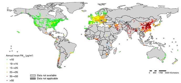 موقعیت ایستگاههای سنجش آلودگی هوا و وضعیت غلظت سالانه آلاینده PM۲.5 در کشورهای جهان طی سالهای ۲۰۱۰-۲۰۱6