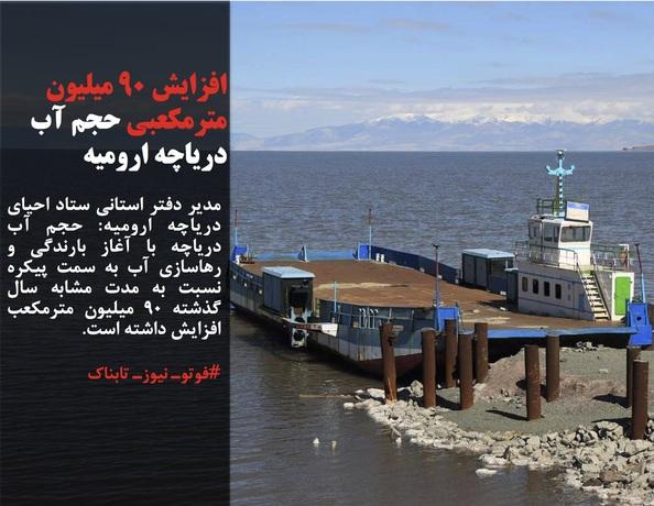 مدیر دفتر استانی ستاد احیای دریاچه ارومیه: حجم آب دریاچه با آغاز بارندگی و رهاسازی آب به سمت پیکره نسبت به مدت مشابه سال گذشته ۹۰ میلیون مترمکعب افزایش داشته است.