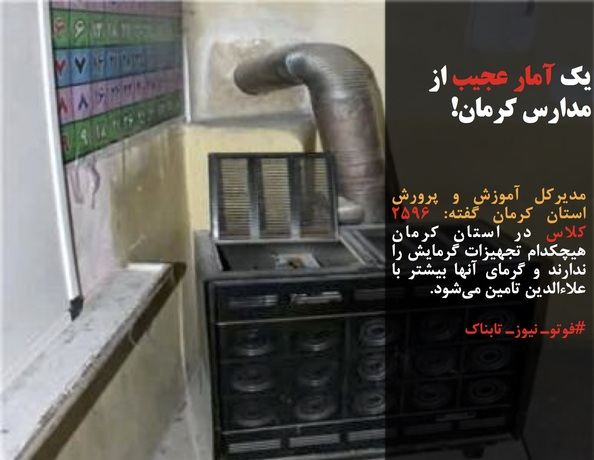 مدیرکل آموزش و پرورش استان کرمان گفته: ۲۵۹۶ کلاس در استان کرمان هیچکدام تجهیزات گرمایش را ندارند و گرمای آنها بیشتر با علاءالدین تامین میشود.