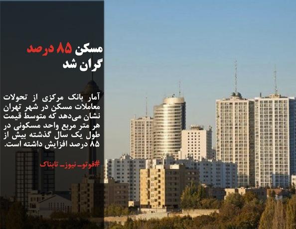 آمار بانک مرکزی از تحولات معاملات مسکن در شهر تهران نشان میدهد که متوسط قیمت هر متر مربع واحد مسکونی در طول یک سال گذشته بیش از ۸۵ درصد افزایش داشته است.