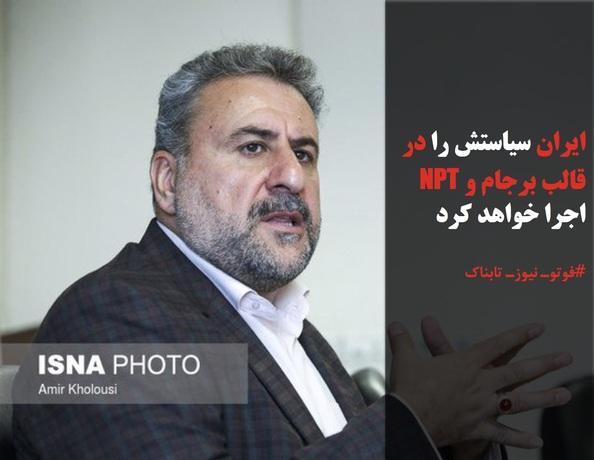 ایران سیاستش را در قالب برجام و NPT اجرا خواهد کرد