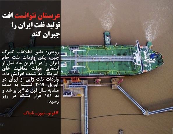 رویترز: طبق اطلاعات گمرک چین، پکن واردات نفت خام ایران را در آخرین ماه قبل از انقضای مهلت معافیت های آمریکا ، به شدت افزایش داد. واردات نفت ژاپن از ایران در آوریل ۲۰۱۹ نسبت به مدت مشابه سال قبل ۴.۵ برابر شد و به ۱۵۱ هزار بشکه در روز رسید.