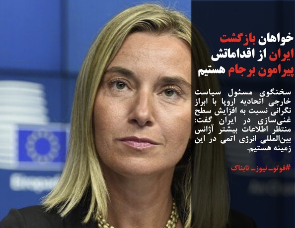 سخنگوی مسئول سیاست خارجی اتحادیه اروپا با ابراز نگرانی نسبت به افزایش سطح غنیسازی در ایران گفت: منتظر اطلاعات بیشتر آژانس بینالمللی انرژی اتمی در این زمینه هستیم.
