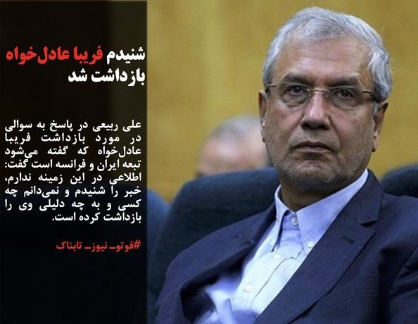 علی ربیعی در پاسخ به سوالی در مورد بازداشت فریبا عادلخواه که گفته میشود تبعه ایران و فرانسه است گفت: اطلاعی در این زمینه ندارم، خبر را شنیدم و نمیدانم چه کسی و به چه دلیلی وی را بازداشت کرده است.