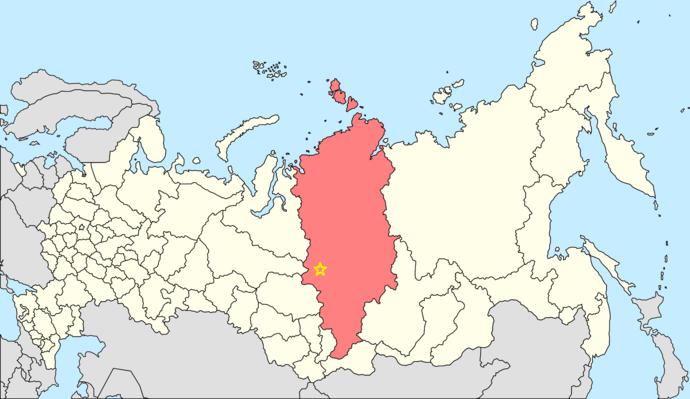 موقعیت استان کراسنویارسک در نقشه روسیه و محل تقریبی انفجار که با ستاره زرد رنگ مشخص شده است