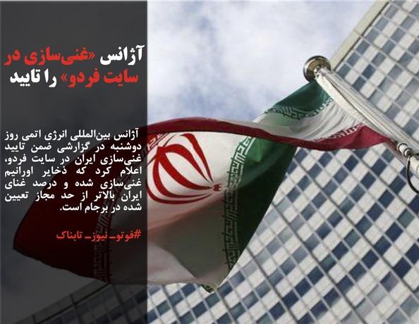 آژانس بینالمللی انرژی اتمی روز دوشنبه در گزارشی ضمن تایید غنیسازی ایران در سایت فردو، اعلام کرد که ذخایر اورانیم غنیسازی شده و درصد غنای ایران بالاتر از حد مجاز تعیین شده در برجام است.