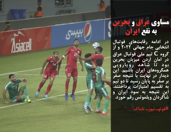 در ادامه رقابتهای فوتبال انتخابی جام جهانی 2022 و از گروه C تیم ملی فوتبال عراق در امان اردن میزبان بحرین بود تا شاهد رویارویی همگروههای ایران باشیم. این دیدار در نهایت با نتیجه صفر بر صفر به پایان رسید تا دو تیم به تقسیم امتیازات پرداختند. این نتیجه به سود ایران و شاگردان ویلموتس رقم خورد.