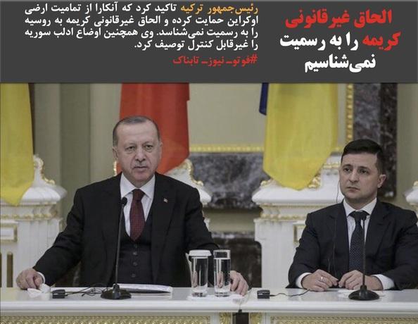 رئیسجمهور ترکیه تاکید کرد که آنکارا از تمامیت ارضی اوکراین حمایت کرده و الحاق غیرقانونی کریمه به روسیه را به رسمیت نمیشناسد. وی همچنین اوضاع ادلب سوریه را غیرقابل کنترل توصیف کرد.