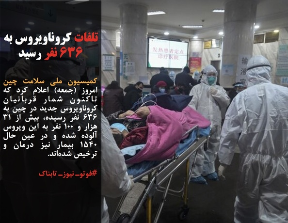 کمیسیون ملی سلامت چین امروز (جمعه) اعلام کرد که تاکنون شمار قربانیان کروناویروس جدید در چین به ۶۳۶ نفر رسیده، بیش از ۳۱ هزار و ۱۰۰ نفر به این ویروس آلوده شده و در عین حال ۱۵۴۰ بیمار نیز درمان و ترخیص شدهاند.