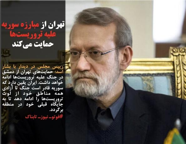 رییس مجلس در دیدار با بشار اسد: حمایتهای تهران از دمشق در جنگ علیه تروریستها ادامه خواهد داشت. ایران یقین دارد که سوریه قادر است جنگ تا آزادی همه مناطق خود از لوث تروریستها را ادامه دهد تا به جایگاه قبلی خود در منطقه برگردد.