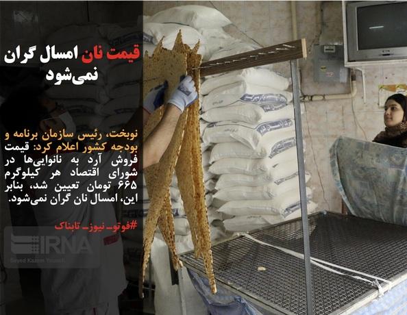 نوبخت، رئیس سازمان برنامه و بودجه کشور اعلام کرد: قیمت فروش آرد به نانواییها در شورای اقتصاد هر کیلوگرم ۶۶۵ تومان تعیین شد، بنابر این، امسال نان گران نمیشود.