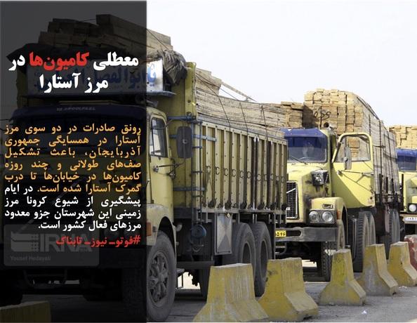 رونق صادرات در دو سوی مرز آستارا در همسایگی جمهوری آذربایجان، باعث تشکیل صفهای طولانی و چند روزه کامیونها در خیابانها تا درب گمرک آستارا شده است. در ایام پیشگیری از شیوع کرونا مرز زمینی این شهرستان جزو معدود مرزهای فعال کشور است.