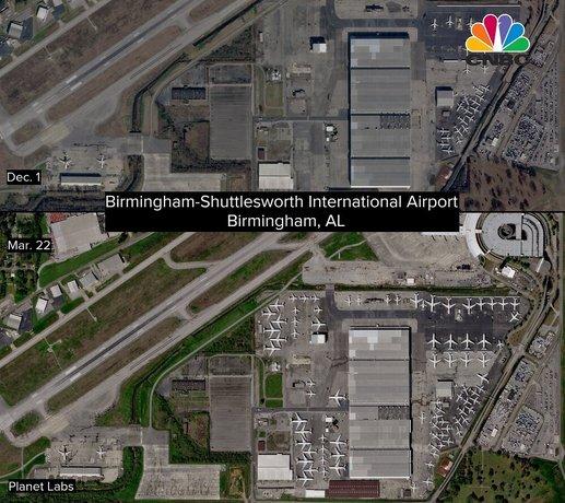 هواپیماهای ایرلاین دلتا بدون استفاده در فرودگاه بیرمنگام رها شدهاند