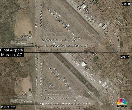 برخی دیگر از هواپیماهای ایرلاین دلتا در پارک هوایی پینال آریزونا زمینگیر شدهاند