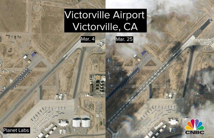 فرودگاه ویکتوریا ویل هم به پارکینگ دهها هواپیما از ایرلاینهای مختلف آمریکا تبدیل شده است