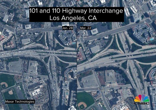 این تصاویر نمایشگر بزرگراههای خالی در ساعات اوج ترافیک است