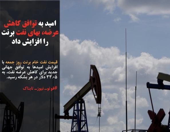 قیمت نفت خام برنت روز جمعه با افزایش امیدها به توافق جهانی جدید برای کاهش عرضه نفت، به ۳۳.۰۵ دلار در هر بشکه رسید.