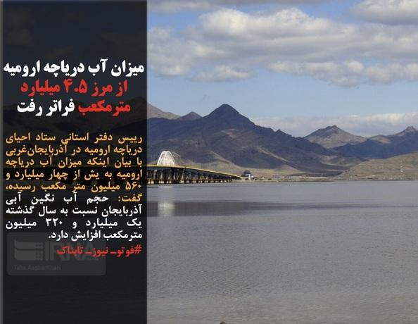 رییس دفتر استانی ستاد احیای دریاچه ارومیه در آذربایجانغربی با بیان اینکه میزان آب دریاچه ارومیه به یش از چهار میلیارد و ۵۶۰ میلیون متر مکعب رسیده، گفت: حجم آب نگین آبی آذربایجان نسبت به سال گذشته یک میلیارد و ۳۲۰ میلیون مترمکعب افزایش دارد.